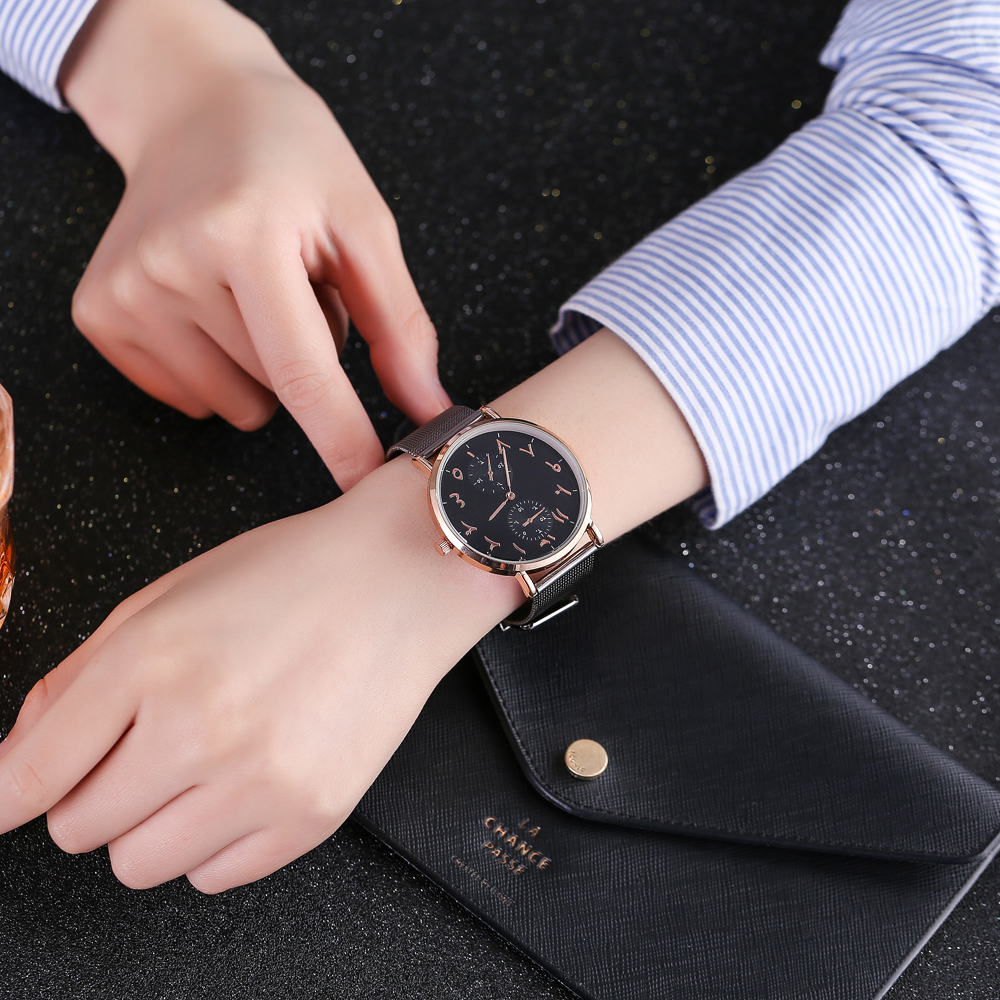 Top Brand Luxury Muslim Arabic Women Watches Ladies Fashion Rose Gold Mesh Band Watch Montre Femme Zegarek Damski Relojes Mujer