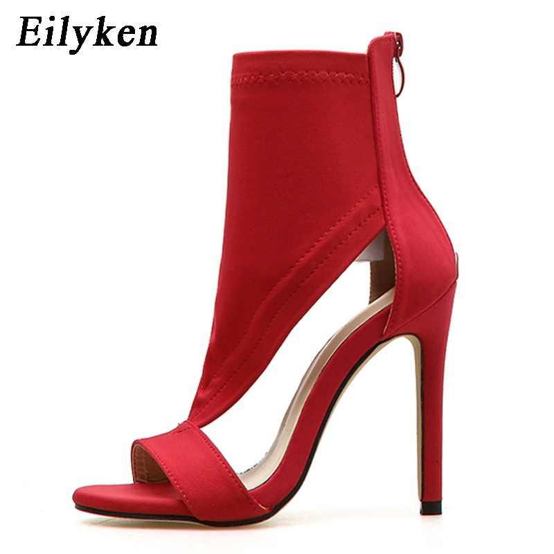 3d3dd394b60 Eilyken 2019 Women Sandals Open Toe Mid Calf Sock Ankle Boots Stretch  Fabric High Heel Summer