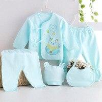 5pcs/set baby Newborn sets Summer pure cotton set  kids clothes girls unisex suit pink blue yellow Baby Accessories
