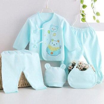 5pcs/set baby Newborn sets Summer pure cotton set  kids clothes girls unisex suit pink blue yellow