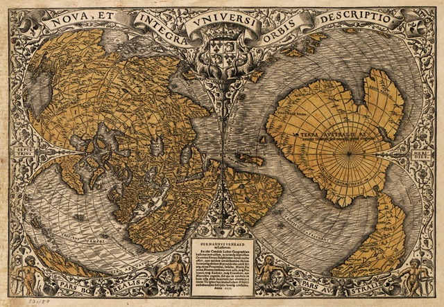 Canvas heart shape old world map of 1531 oronce fine famous old canvas heart shape old world map of 1531 oronce fine famous old sailingtreasure gumiabroncs Gallery