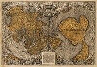 Płótno Kształt Serca Starego Świata Mapa 1531, Oronce Dobrze Znane Stare Żeglarstwo/Treasure Map Bezramowe Obrazy do Dekoracji Wnętrz
