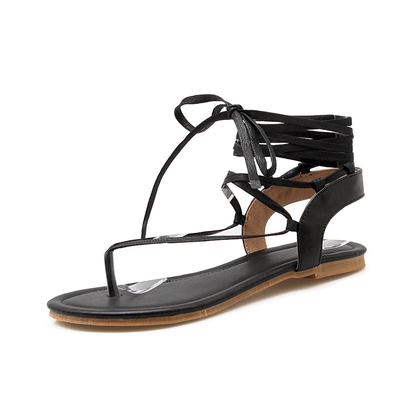 Summer beach flats toe shoes cross straps Rome gladiator sandal Hollow Out PU Leather Open Toe Black/plus size 35-40