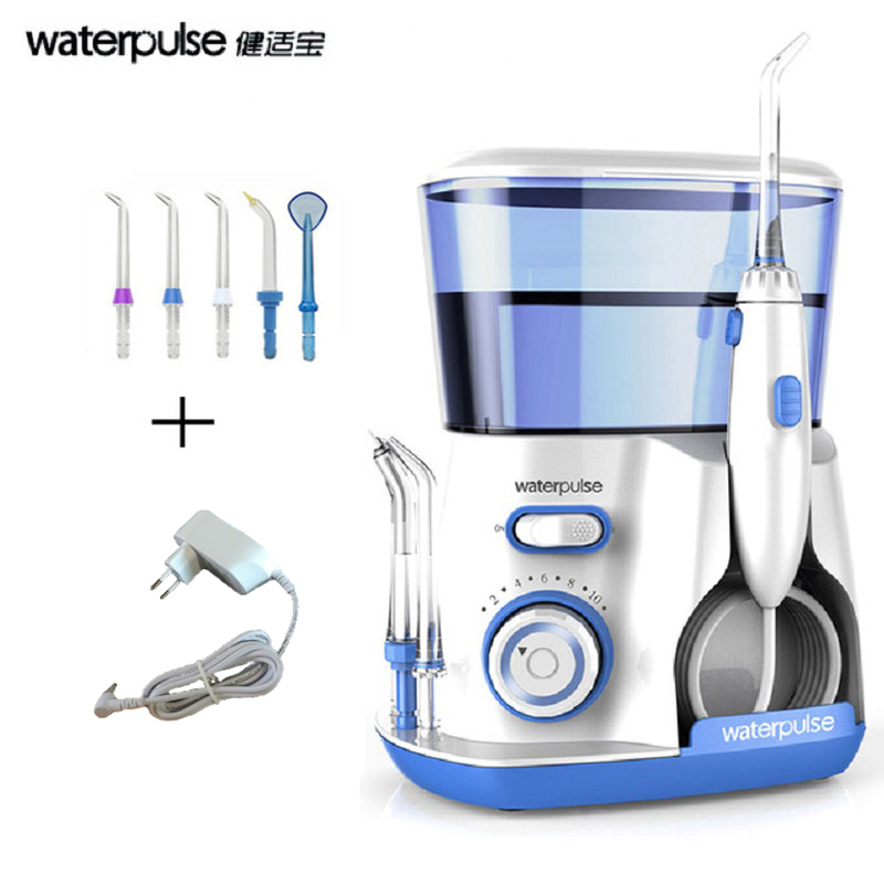 Waterpulse V300 Dental Flosser Water Floss Oral Irrigator With 5 Jet Tips Dental Oral Hygiene 10 Pressures Teeth Cleaner Floss waterpulse 4pcs classic jet tips for dental flosser standard nozzle water flosser replacement jet tips oral irrigator 4 pack