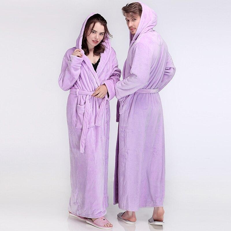 Femmes hommes hiver à capuche Extra Long chaud peignoir de luxe épais flanelle Robe de bain grande taille doux thermique Robe de chambre Sexy Robes - 4