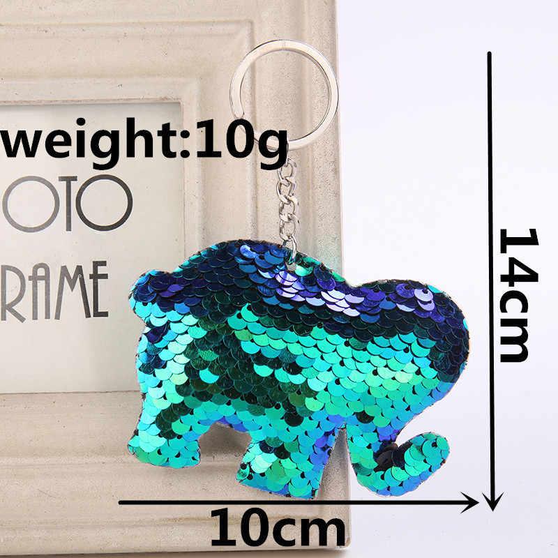 Милые Блестки брелок для ключей со слоном мода животных Русалка Блестки брелок для Для женщин сумки брелок украшения подарок 6C2375