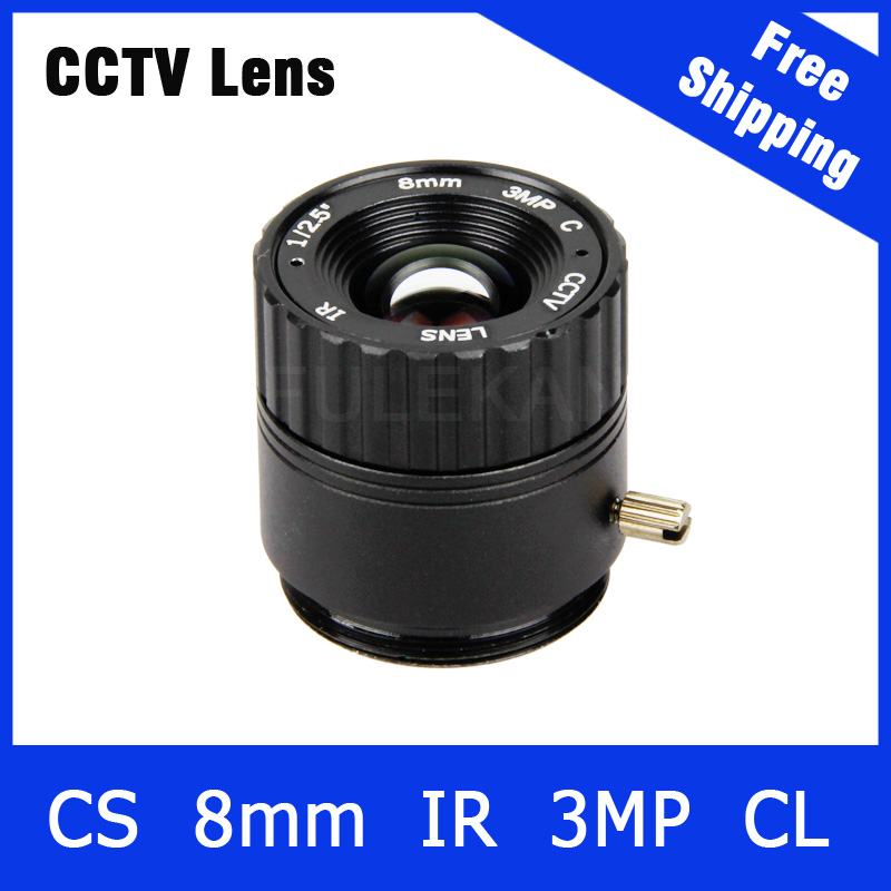3Megapixel Fixed CS Mount CCTV Camera Lens 8mm For 720P/960P/1080P IP camera and AHD/CVI/TVI Camera Free Shipping cs 8mm cctv camera lens fixed iris monofocal alloy with nail