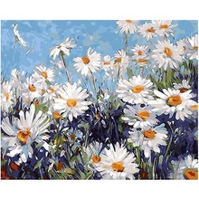 WEEN Daisy flowers-Framed Oil Paint By Numbers,Modern Wall Art Picture Home Decor,DIY Painting Numbers,Acrylic 40x50cm