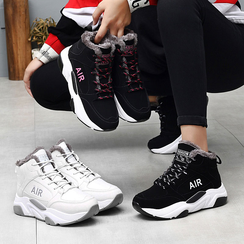 SUROM Women Winter Snow Running Shoes Breathable Plush Warm Sport Shoes Women Outdoor Jogging Trainers Shoes Athletic Sneakers