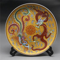Collectible exquisite crafts china ceramic colored drawing dragon phoenix dish