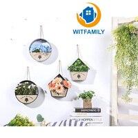 Oszczędny Amerykański Handmade Home Dekoracje Ścienne Cafe Styl Duszpasterski Symulacji Roślin Doniczka Donice Ścian Dwóch Kolorach