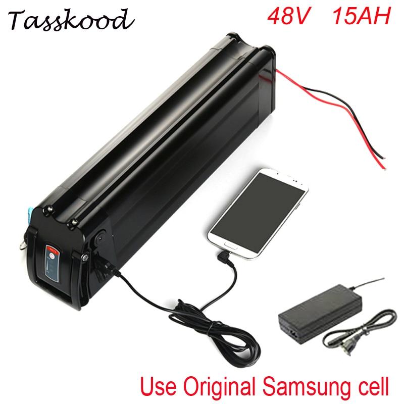 Poisson argenté Samsung ebike batterie au lithium 48 v 15ah batterie de vélo électrique avec port USB ajustement 48 v bafang 1000 w 750 w bbs02 moteur