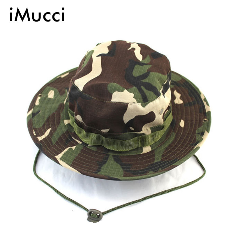 aecf03cdf53 2016 Outdoor Sun Cap Military Sunscreen Round Brimmed And Fisherman Hiking Cap  Men Camouflage The U.S. Tactical Hat Boonie Hat