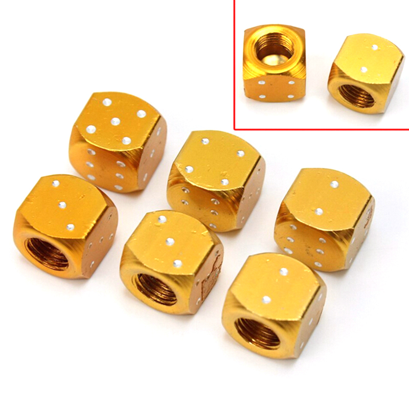 4pcs Auto Wheel Stem Tyre Air Valve Cap Dice Tire Tyre Valve Caps Dustproof Gold Aluminum Bike MTB Truck Tire Valve Dust Cap