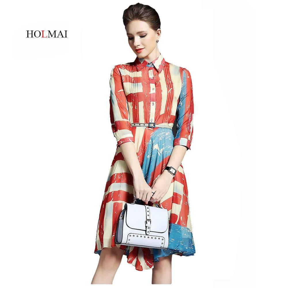 Holmai 50s 60s Women Vintage Dresses Summer Elegant Party Shirt