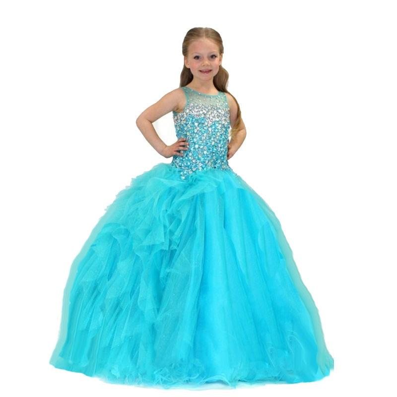 Kids Flower Girl Dresses Neck Little Girl Dresses Lace Chiffon Kids Formal Wear For Wedding Party Communion Dresses
