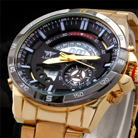 Gold Sports Watch Army Military Calendar Men Outdoor Watches Waterproof Men's Dual Display Wristwatches