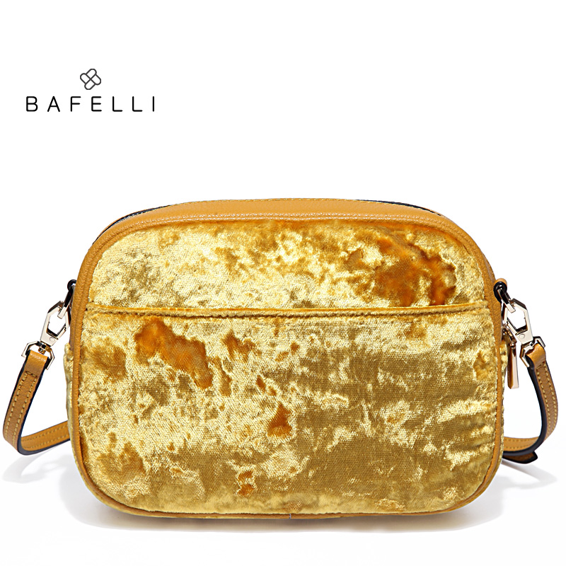 цена BAFELLI new arrival velvet shoulder bag split leather strap circular bag yellow bolsa feminina simple small women bag в интернет-магазинах
