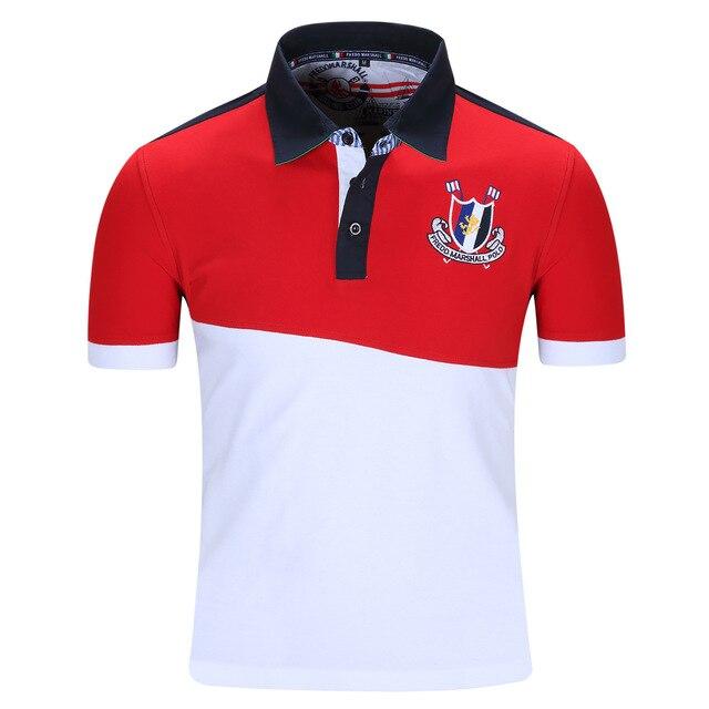 Fredd Marshall Polo Рубашка Мода Твердые Моды для Мужчин отдых бренд одежды Polo Рубашки Красный и Белый Евро Размер M-XXL N17
