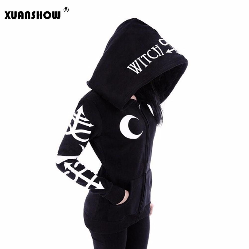 XUANSHOW Frauen Punk Mond Buchstaben Gedruckt Sweatshirts Winter Herbst Langarm Jacke Reißverschluss Mantel