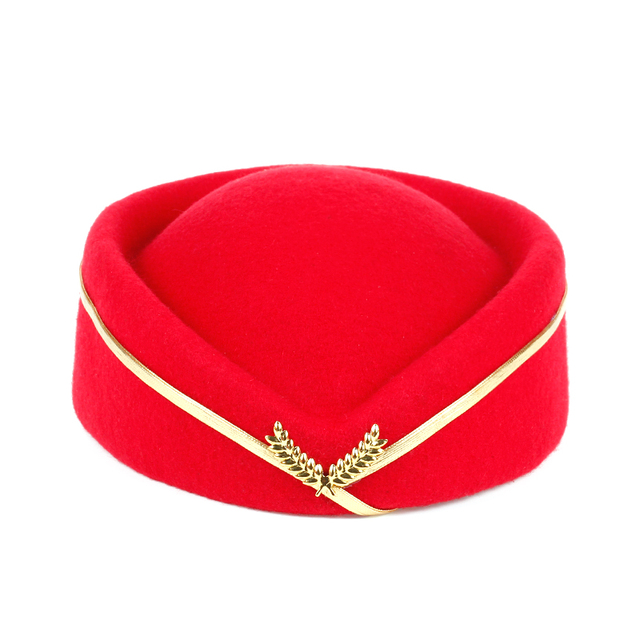 152e84f9695 new style Sold flight attendant Hat Soviet Lady Beret Hats Air Force Cap hat  with gold wheat Boat Shape factory sells directly