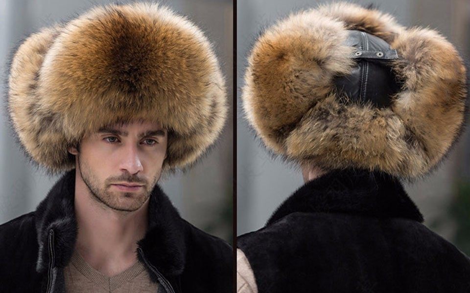 Men Russian leather Raccoon Fur Bomber Cap