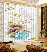 3D Curtains Bed Room Living Room Office Hotel Cortinas Vase, Gray Lotus Leaf, Colored Lotus Custom Any Size 3D Curtain Blackout(China)
