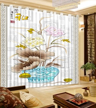 3D Curtains Bed Room Living Room Office Hotel Cortinas Vase, Gray Lotus Leaf, Colored Lotus Custom Any Size 3D Curtain Blackout