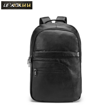 """Design Male Original Leather Casual Fashion Large Capacity Travel School College 17"""" Laptop Student Bag Backpack Daypack BB339"""
