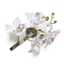 Fashion Woman Wedding Phalaenopsis Flower Hair Clip Bridal Hawaii Party Corsage White