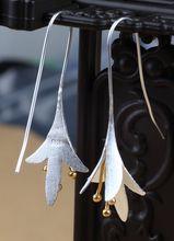 925 Sterling Silver Long Flower Earrings For Women Girls Gift Statement Jewelry