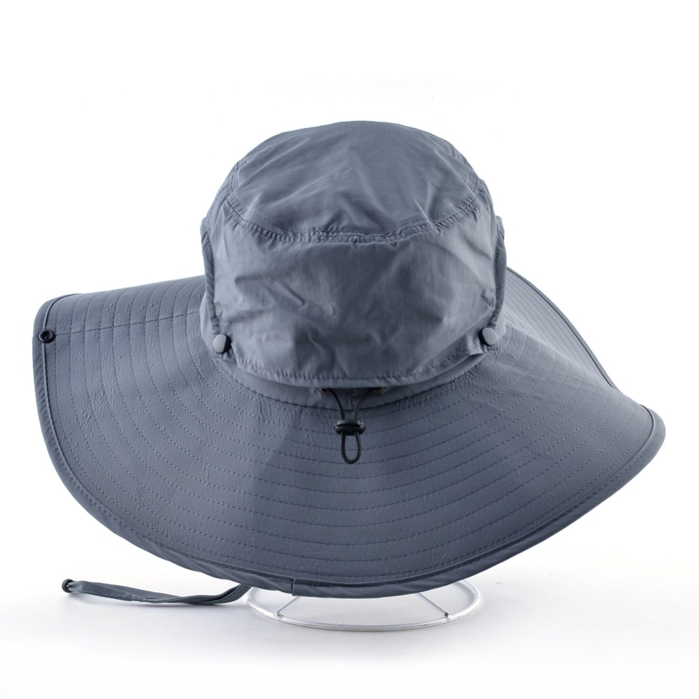 73c29ae2 Wide Brim Bucket Hat Men Outdoor Breathable mesh Waterproof Sun Cap Solid  Color Sprot Hat Climbing Hiking UV Protection Hats-in Bucket Hats from  Apparel ...