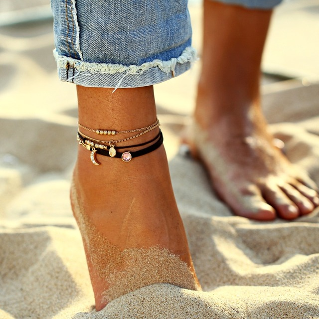 AY Bohemian Crystal Beads Anklet Set For Women Moon Pendant Bracelet on the Leg Jewelry 1