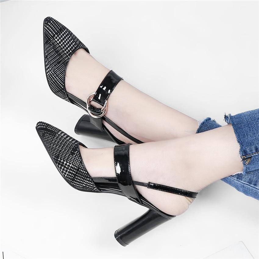 Genuine Leather High Heels Women Pumps DOrsay High Heel Shoes Stiletto Woman Party Shoes Kitten Heel Plus Size 33 - 40 41 42 43