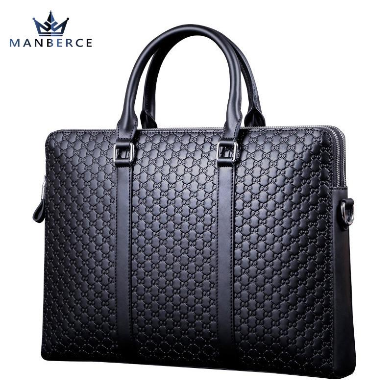Luxury Portable commercial stamp pattern cowhide leather man bag briefcase, men leather handbag