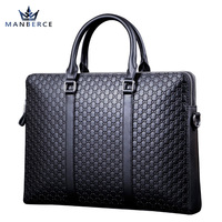 Portable Commercial Crocodile Pattern Cowhide Genuine Leather Man Bag Briefcase B10483 Free Shipping