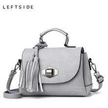 LEFTSIDE Pure color Ladies Small Crossbody Bags For Women PU Leather Luxury Lady Hand Bags Messenger