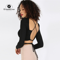Sexy Open Back Shirt Lace Up Top Crop O Neck Black Blouse Women Long Sleeve