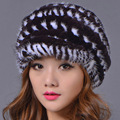 Adult Rex Rabbit & Mink Fur Beanies Women Spring Winter Casual Solid Cap Knitted Hats Ear Protect