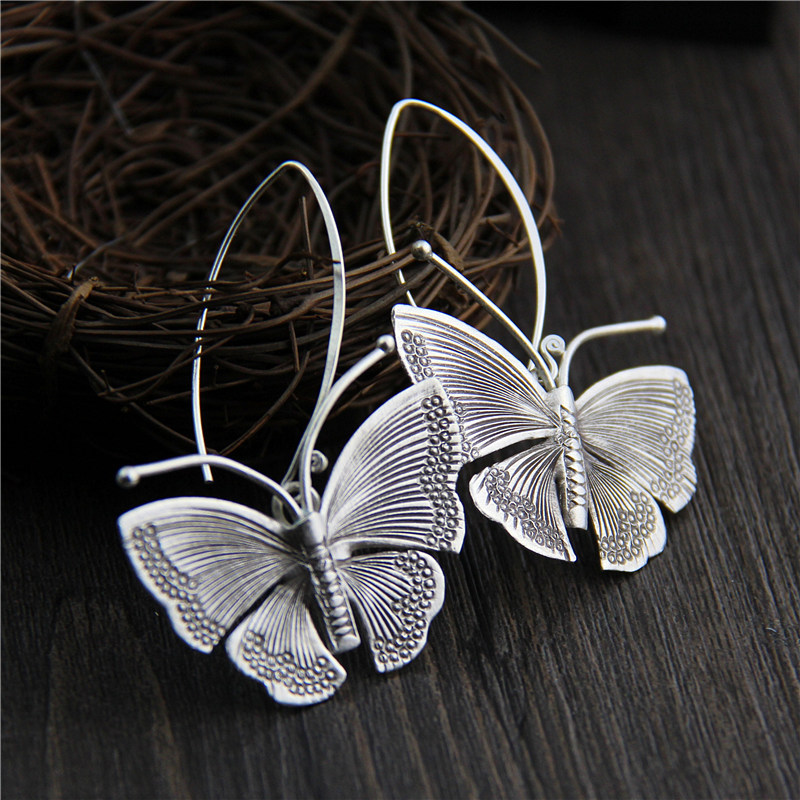 Real Pure 100% 925 Sterling Silver Exaggerated Large Butterfly Drop Earrings For Women Handmade Vintage Style beentrill бермуды