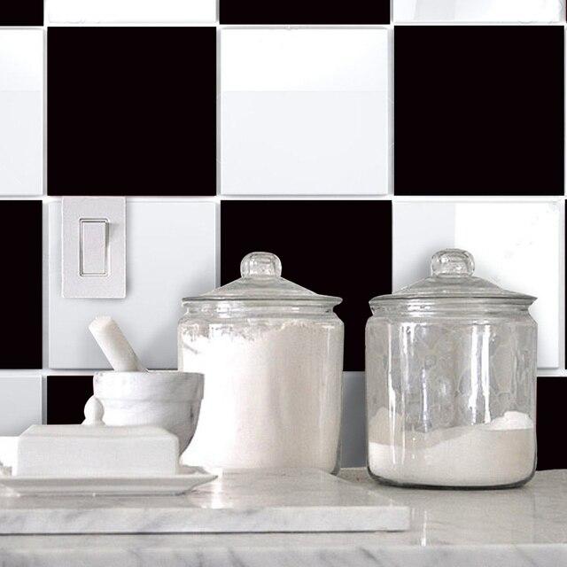 Schwarzen Und Weißen Fliesen Wandaufkleber Bad Küche Wohnzimmer Wand  Dekoration Wasserdichte Wand Poster Papier Wand Decaration