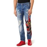 Весна и лето отверстие джинсы для женщин новый печати для мужчин's мотобрюки рваные джинсы для мужчин Уличная мужчин одежда 2018 мужчин узкие