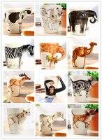 Kreative geschenk love3D tier form keramik kaffee milch tee becher handgemalte caneca Giraffe Kuh Affe Hund Katze Kamel Elefanten tasse