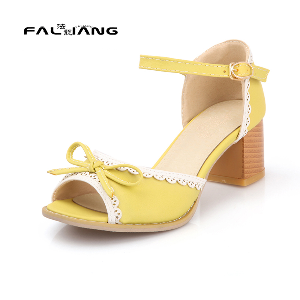 Big Size 11 12 Sweet Peep Toe Butterfly-knot Buckle Casual Square heel Women's Shoes Sandals Woman For Women new flock high big size 11 12 women shoes wedges pointed toe woman ladies butterfly knot casual spring autumn sweet single shoes