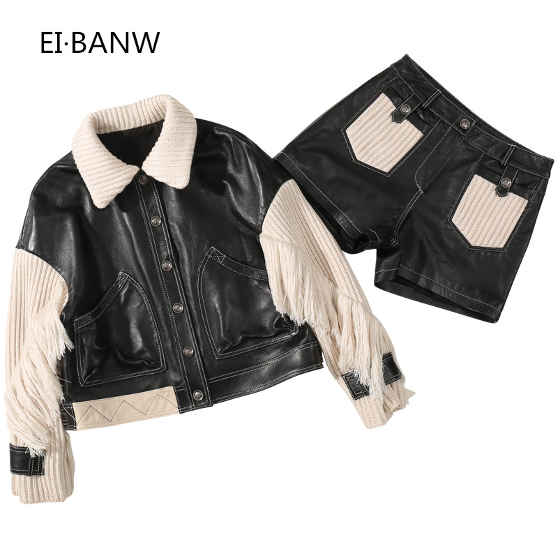 Womens Short SheepskinKnitted Fringe Sleeve Jacket Thin Shorts Leather Set Genuine