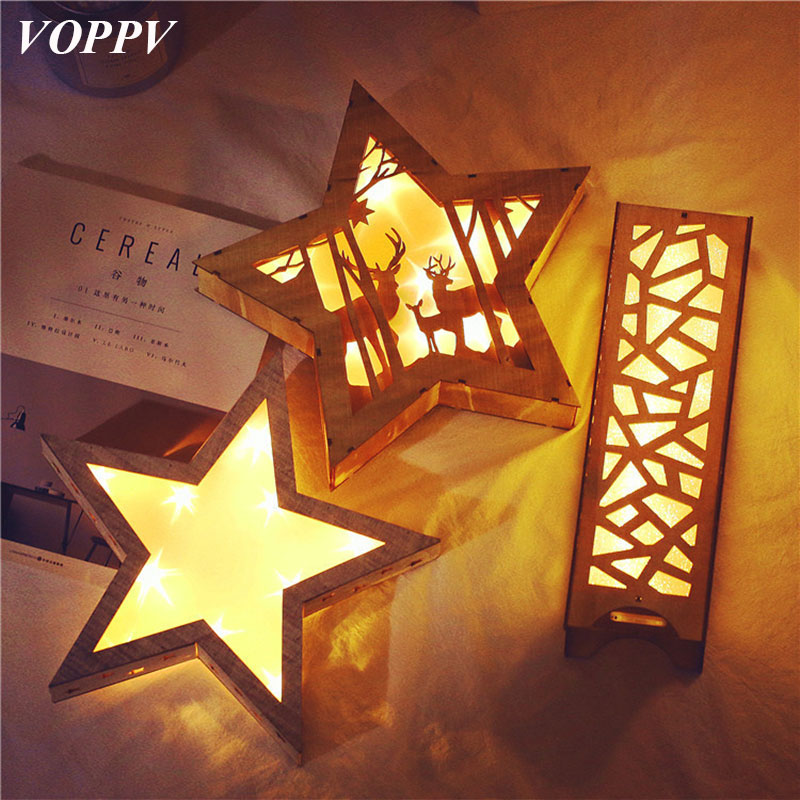 VOPPV LED Children's Night Lamp Fairy Fixture Decor Sleep Room Bedside Lamp Luminaria Bedroom Battery Christmas Table/Desk lamps novelty smile face rainbow led night lights battery night lamps baby room nursery living room decor kids christmas gifts lamps
