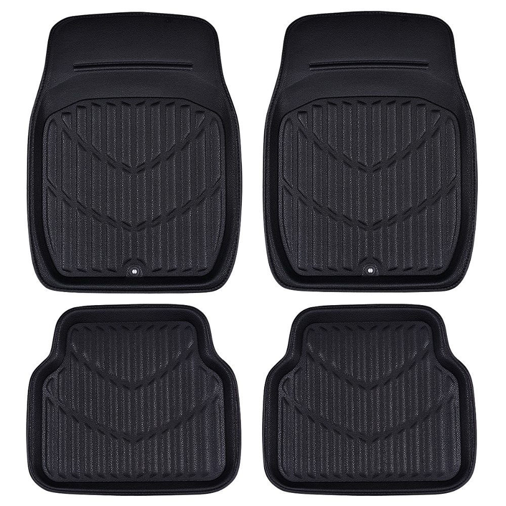 Car-pass Universal Car Floor Mats Black / Red  Car Interior Accessories Pvc Leather Waterproof Floor Mats Car-styling Protector