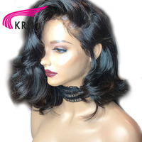 KRN Pre Plucked Brazilian Lace Front Human Hair Wigs With Baby Hair 130 Density Remy Hair Short Wavy Lace Front Wigs Full End