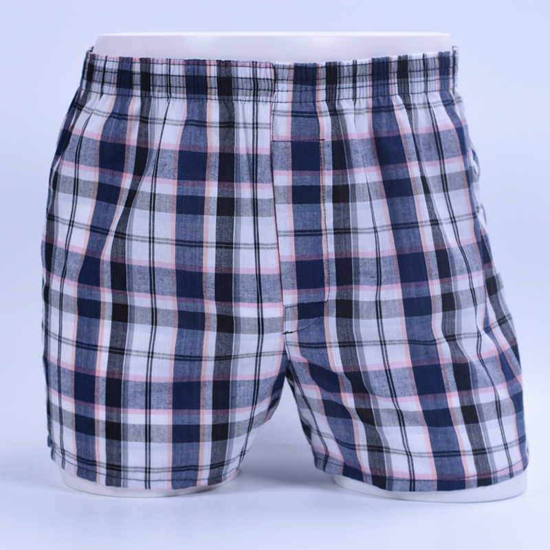 Loose Boxers Woven Underwear Panties Soft Men's Cotton Classic Man Plaid Homme