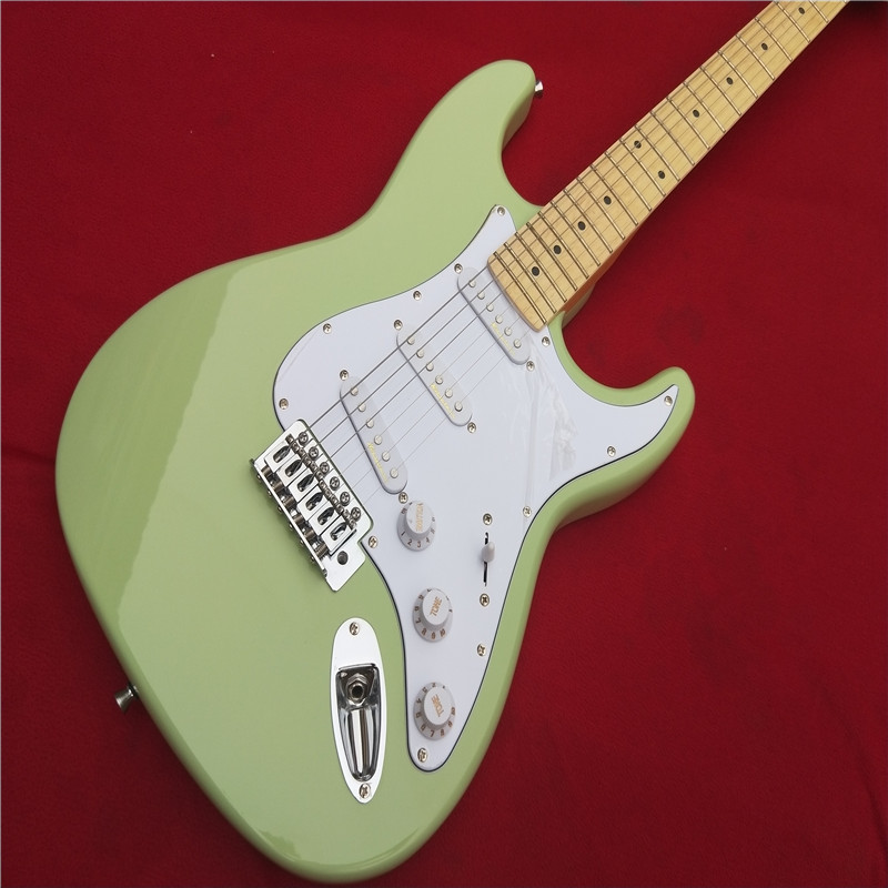 Electric guitar Wholesale KPOLE st custom shop electric guitar/oem brand sky blue color guitar/guitar in chin Real photo shows china s oem firehawk custom shop electric guitar lp color shell inlays color binding double water ripple